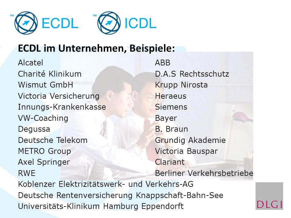ECDL im Unternehmen, Beispiele: