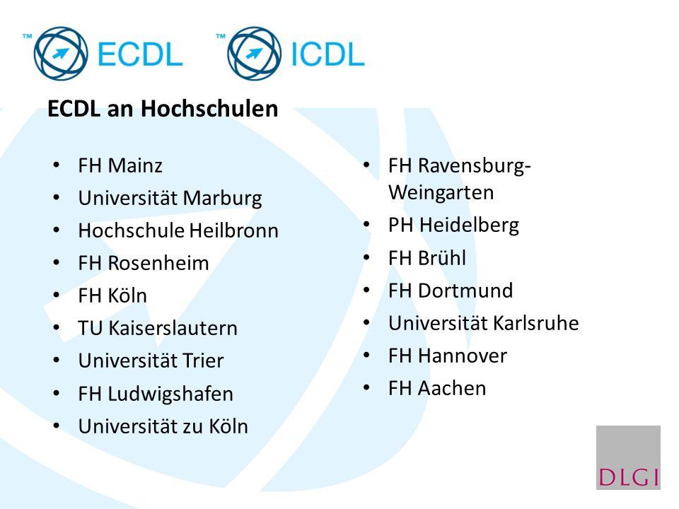 ECDL an Hochschulen FH Mainz Universität Marburg Hochschule Heilbronn