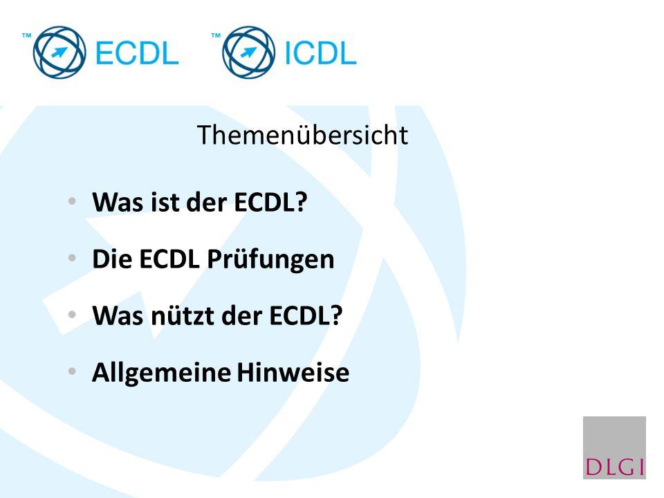 Themenübersicht Was ist der ECDL Die ECDL Prüfungen