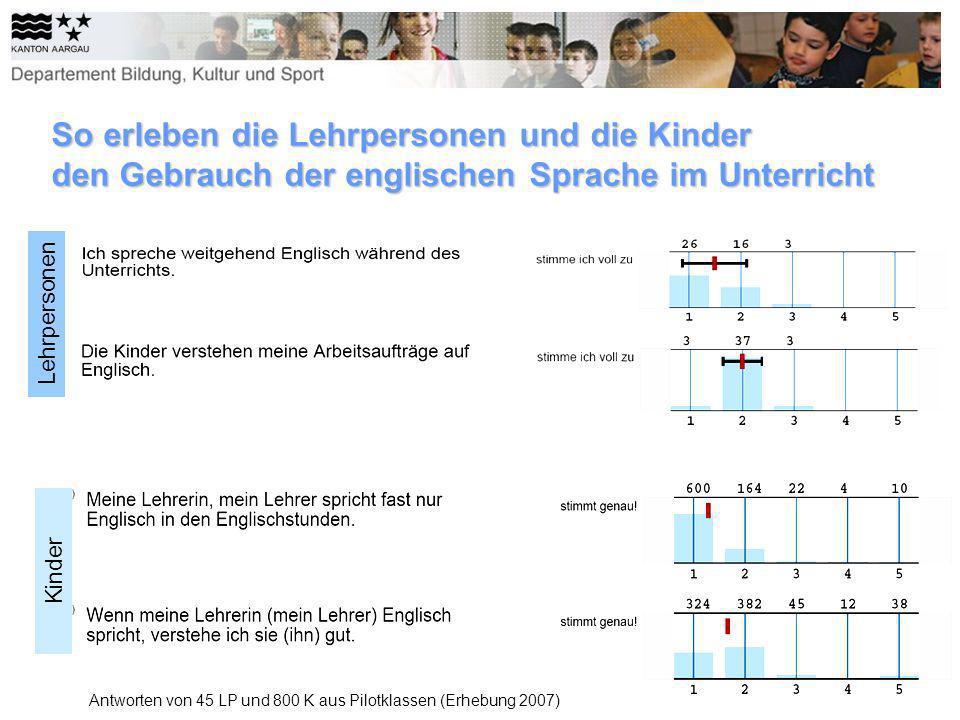 So erleben die Lehrpersonen und die Kinder den Gebrauch der englischen Sprache im Unterricht