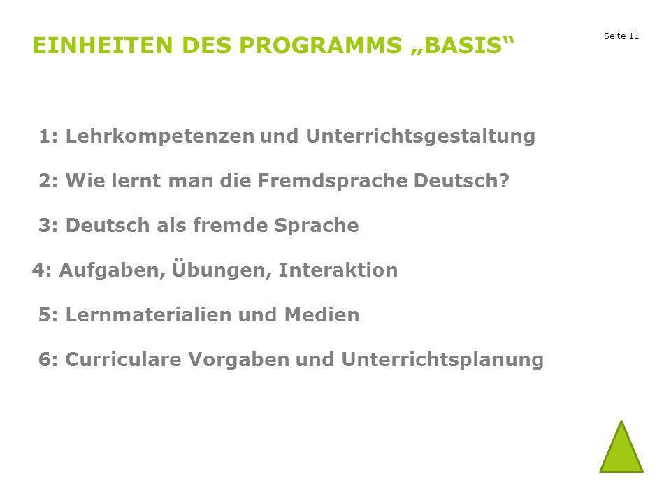 """Einheiten des Programms """"Basis"""