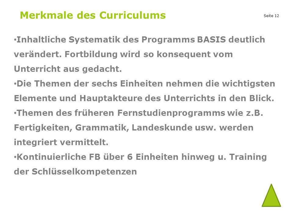 Merkmale des Curriculums