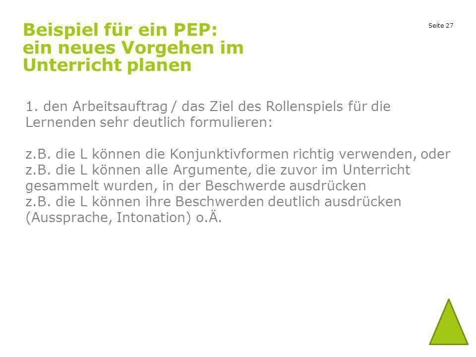 Beispiel für ein PEP: ein neues Vorgehen im Unterricht planen