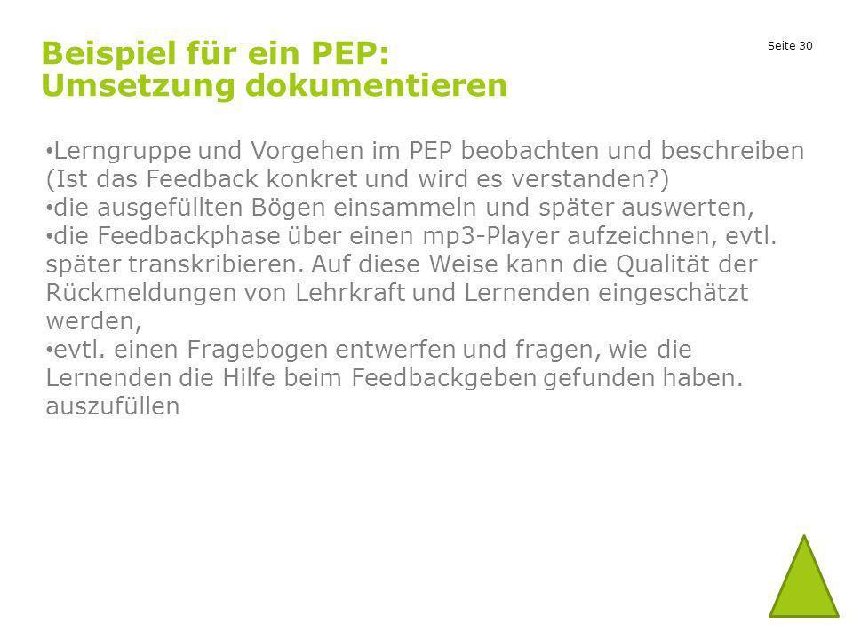 Beispiel für ein PEP: Umsetzung dokumentieren