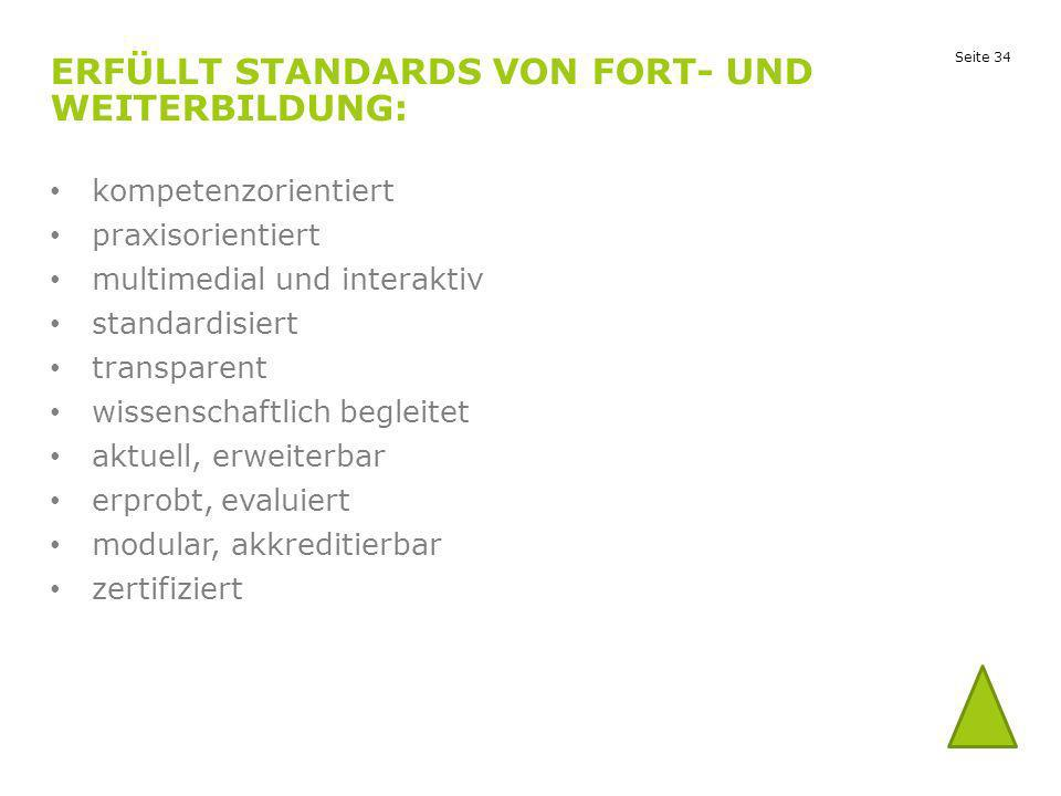 Erfüllt Standards von Fort- und Weiterbildung: