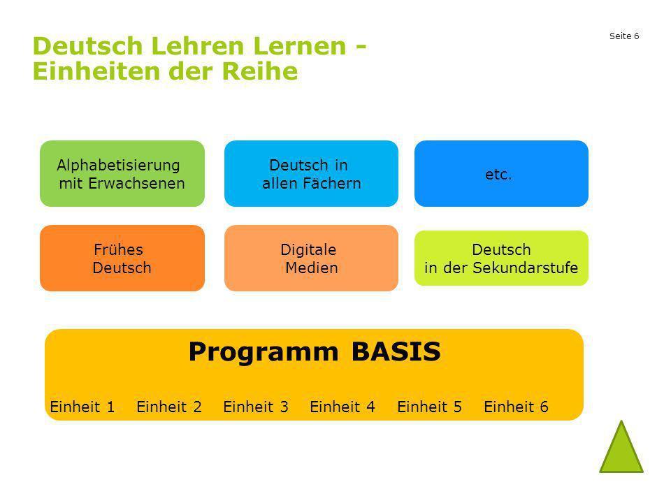 Deutsch Lehren Lernen - Einheiten der Reihe