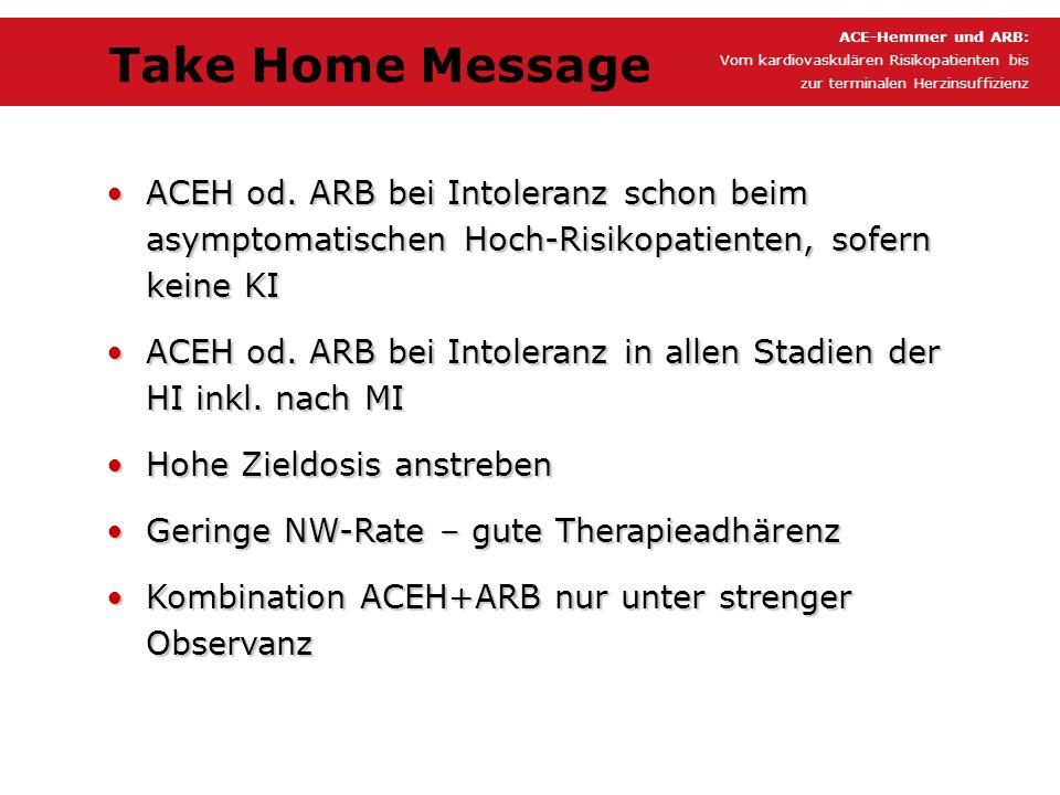 ACE-Hemmer und ARB: Vom kardiovaskulären Risikopatienten bis. zur terminalen Herzinsuffizienz. Take Home Message.