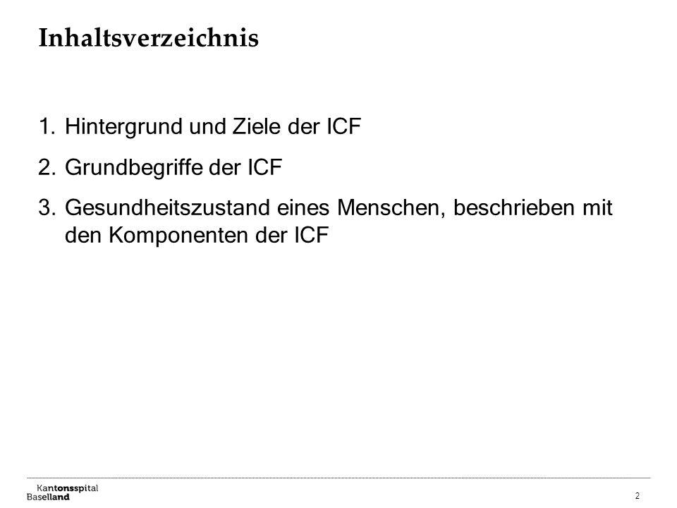 Inhaltsverzeichnis Hintergrund und Ziele der ICF Grundbegriffe der ICF
