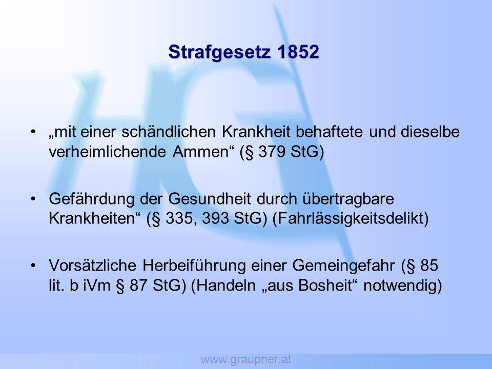 """www.graupner.at Strafgesetz 1852. """"mit einer schändlichen Krankheit behaftete und dieselbe verheimlichende Ammen (§ 379 StG)"""