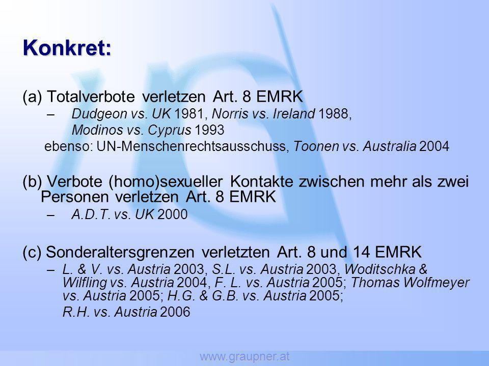 Konkret: (a) Totalverbote verletzen Art. 8 EMRK