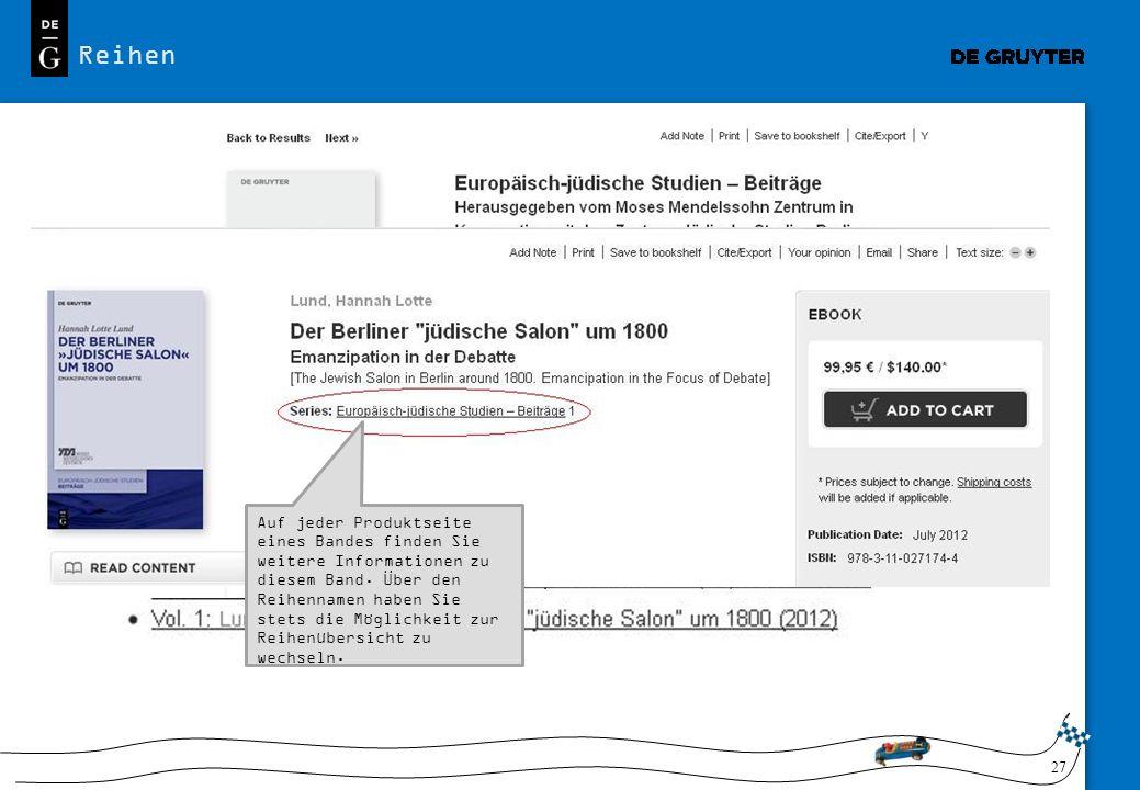 Reihen Zu jeder Buchreihe finden Sie einen Überblick zu den einzelnen Bänden, die jeweils auf die entsprechenden Produktseiten verlinken.