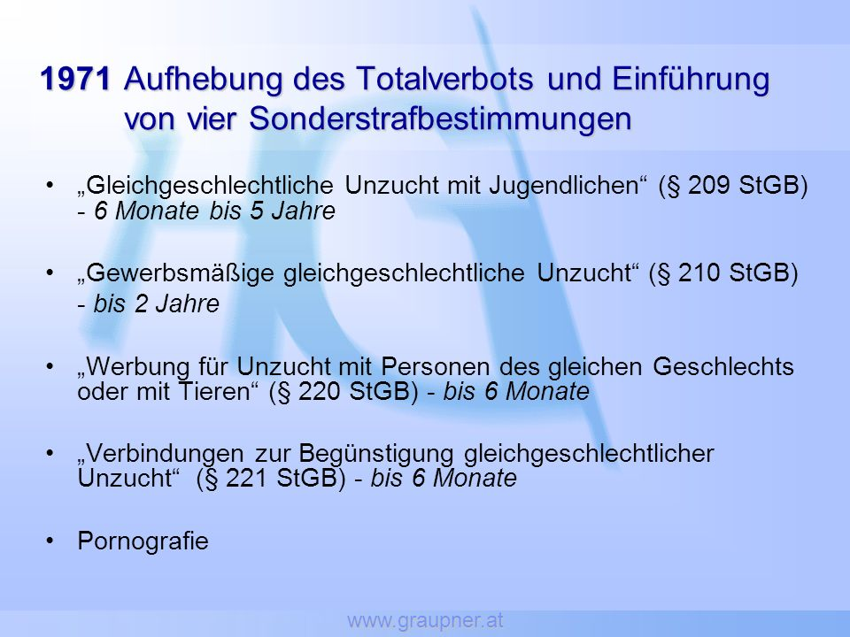 www.graupner.at 1971 Aufhebung des Totalverbots und Einführung von vier Sonderstrafbestimmungen.