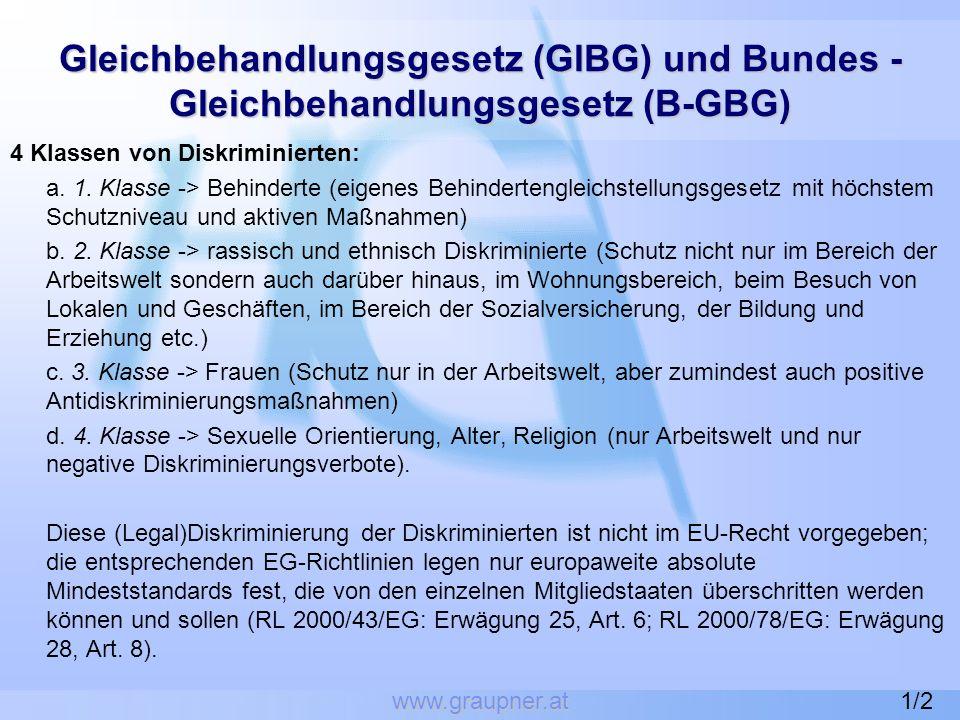www.graupner.at Gleichbehandlungsgesetz (GlBG) und Bundes - Gleichbehandlungsgesetz (B-GBG) 4 Klassen von Diskriminierten: