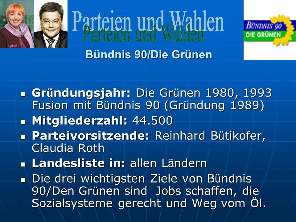 Bündnis 90/Die Grünen Gründungsjahr: Die Grünen 1980, 1993 Fusion mit Bündnis 90 (Gründung 1989) Mitgliederzahl: 44.500.