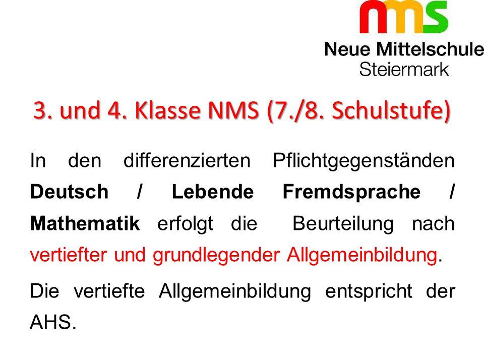 3. und 4. Klasse NMS (7./8. Schulstufe)