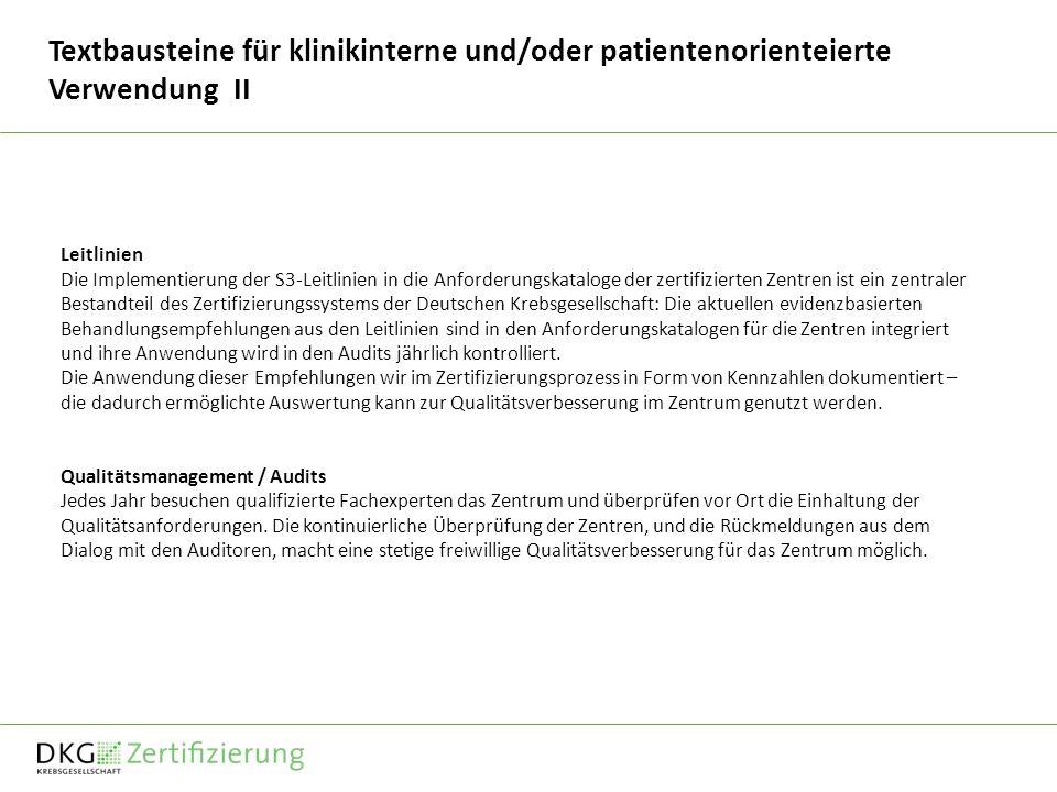 Textbausteine für klinikinterne und/oder patientenorienteierte Verwendung II