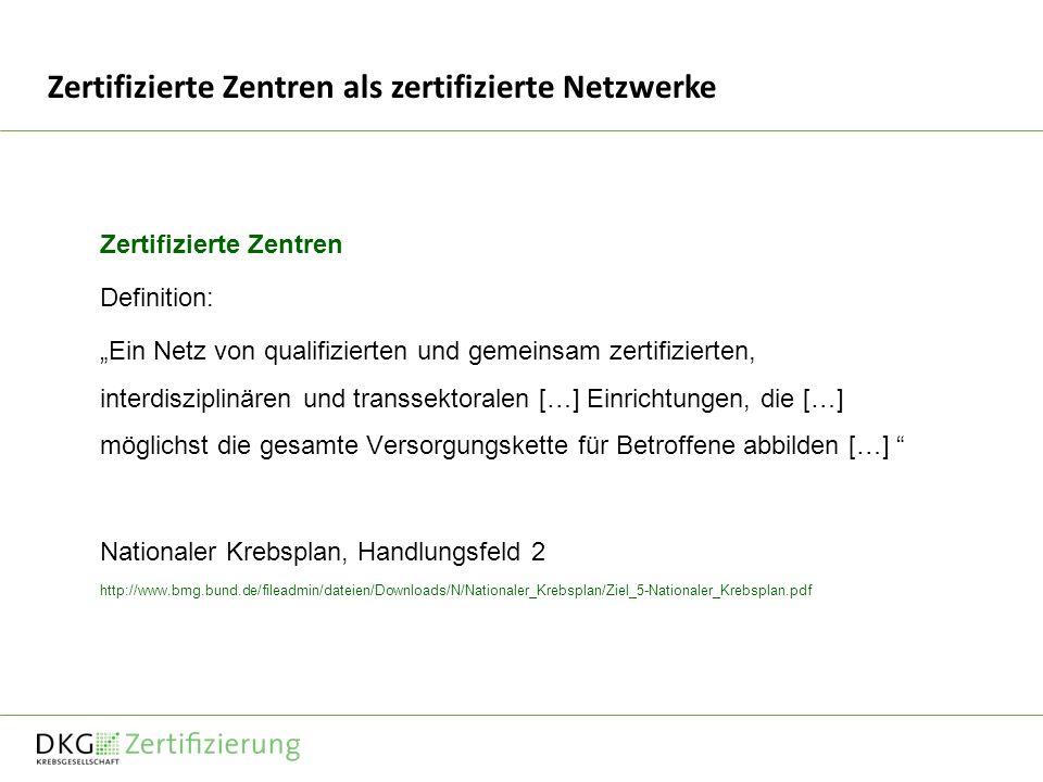 Zertifizierte Zentren als zertifizierte Netzwerke