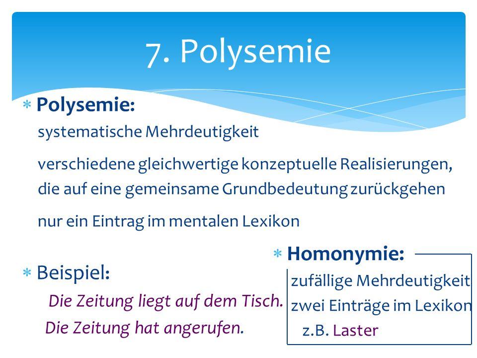 7. Polysemie Polysemie: Beispiel: Homonymie: