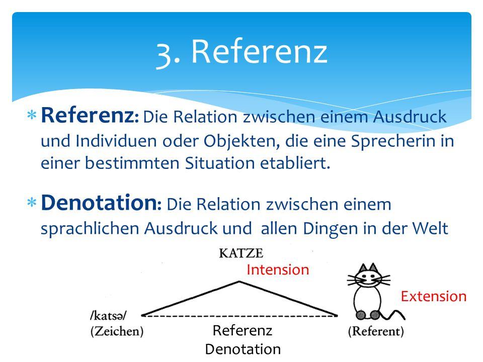 3. Referenz Referenz: Die Relation zwischen einem Ausdruck und Individuen oder Objekten, die eine Sprecherin in einer bestimmten Situation etabliert.