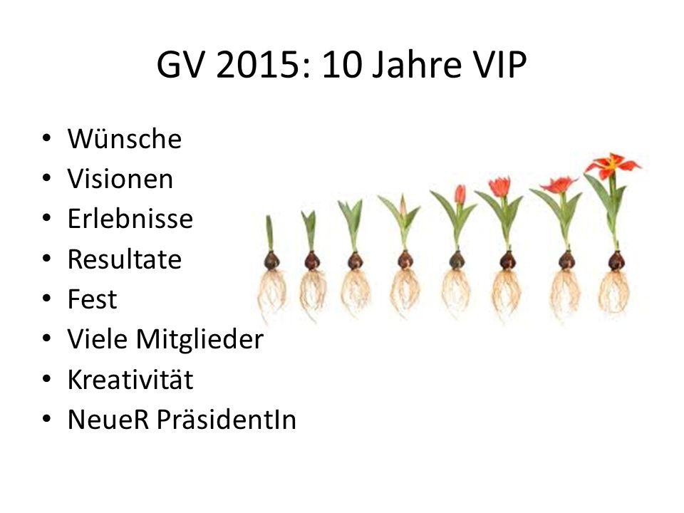 GV 2015: 10 Jahre VIP Wünsche Visionen Erlebnisse Resultate Fest