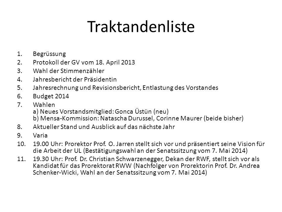 Traktandenliste Begrüssung Protokoll der GV vom 18. April 2013