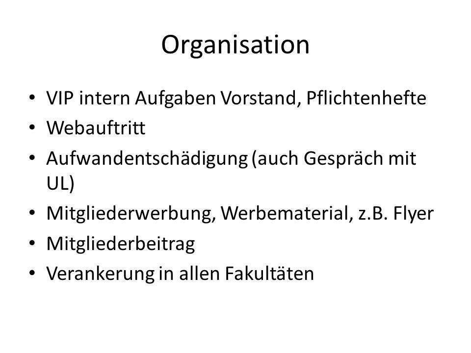 Organisation VIP intern Aufgaben Vorstand, Pflichtenhefte Webauftritt