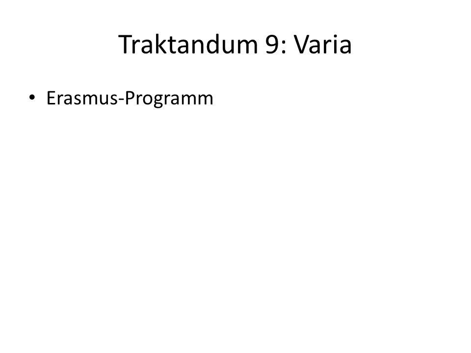 Traktandum 9: Varia Erasmus-Programm