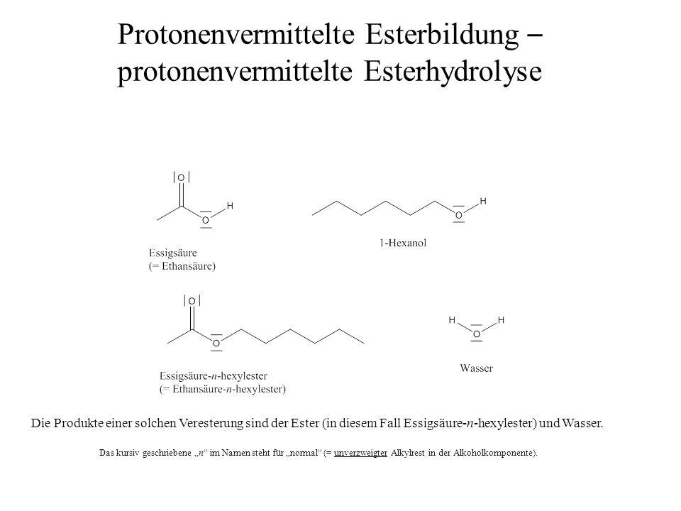 Protonenvermittelte Esterbildung – protonenvermittelte Esterhydrolyse