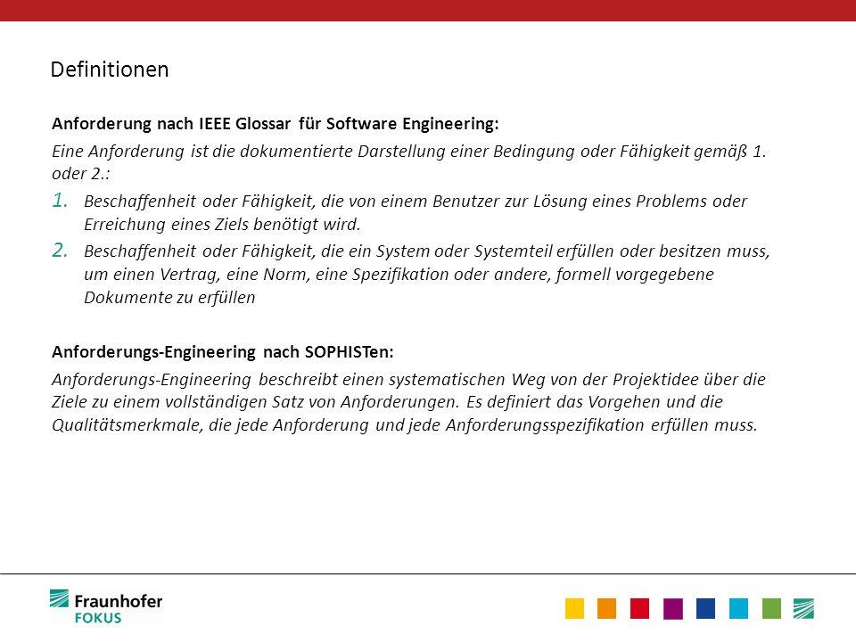 Definitionen Anforderung nach IEEE Glossar für Software Engineering: