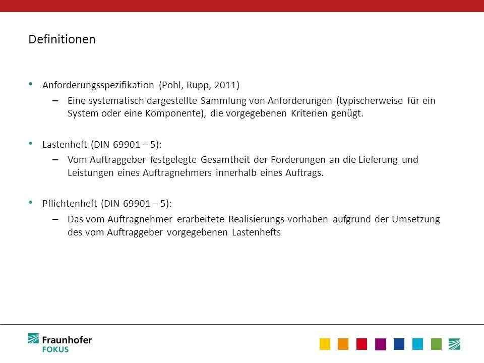 Definitionen Anforderungsspezifikation (Pohl, Rupp, 2011)