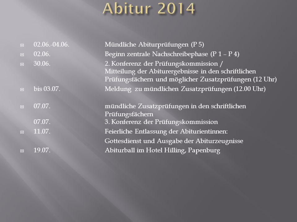 Abitur 2014 02.06.-04.06. Mündliche Abiturprüfungen (P 5)