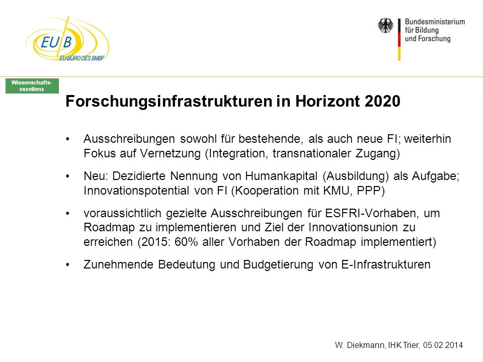 Forschungsinfrastrukturen in Horizont 2020