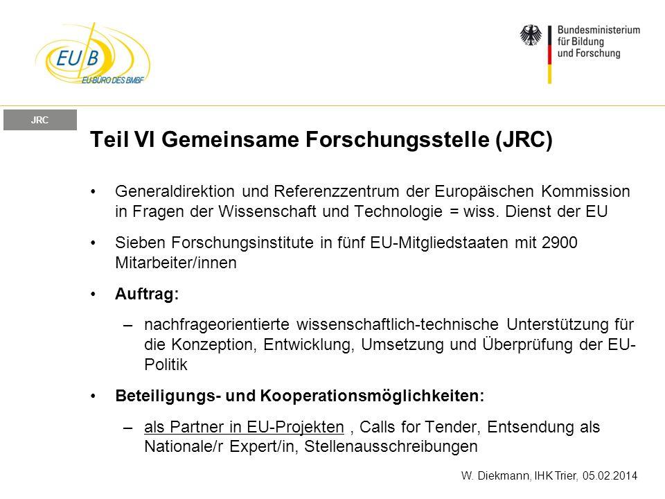 Teil VI Gemeinsame Forschungsstelle (JRC)