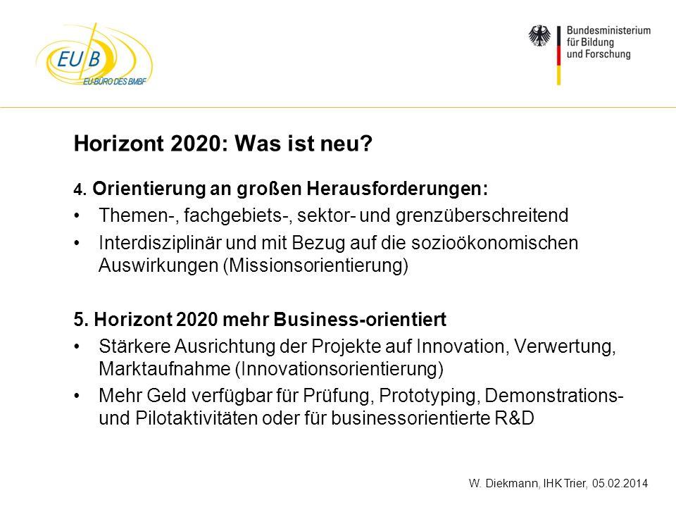 Horizont 2020: Was ist neu 4. Orientierung an großen Herausforderungen: Themen-, fachgebiets-, sektor- und grenzüberschreitend.