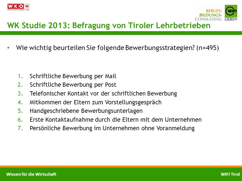 WK Studie 2013: Befragung von Tiroler Lehrbetrieben