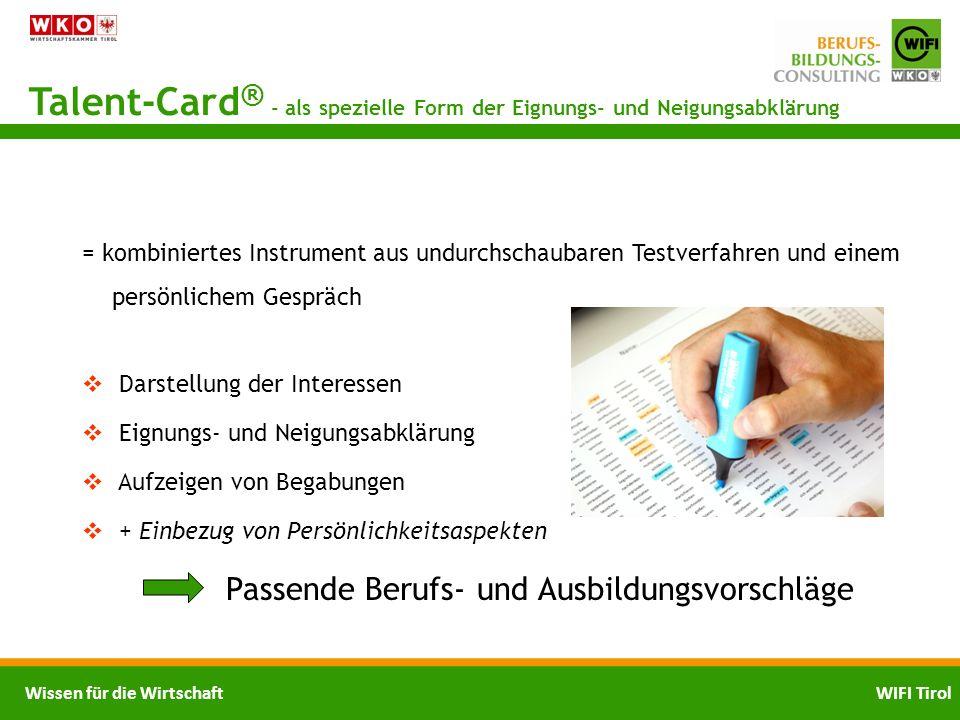 Talent-Card® - als spezielle Form der Eignungs- und Neigungsabklärung