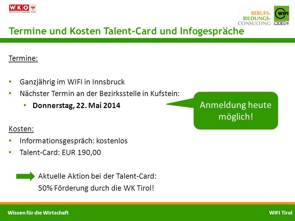 Termine und Kosten Talent-Card und Infogespräche