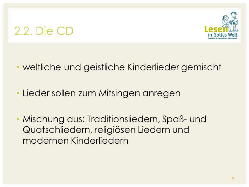 2.2. Die CD weltliche und geistliche Kinderlieder gemischt