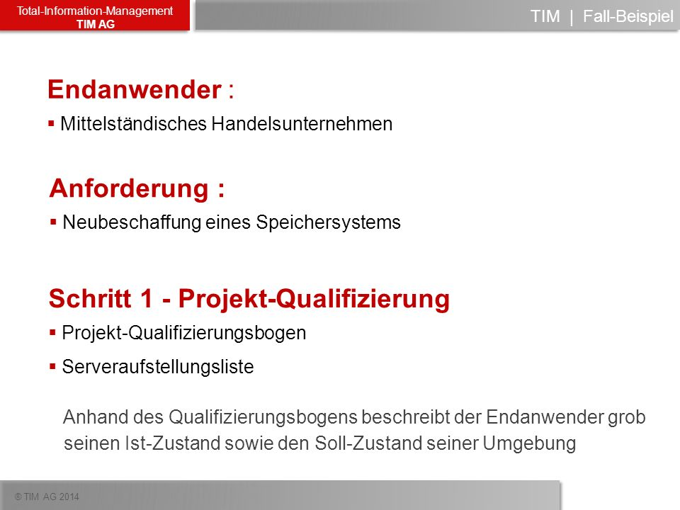 Schritt 1 - Projekt-Qualifizierung