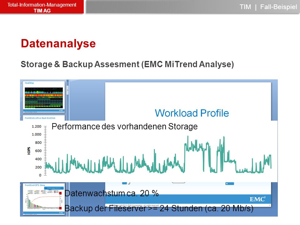Datenanalyse Storage & Backup Assesment (EMC MiTrend Analyse)