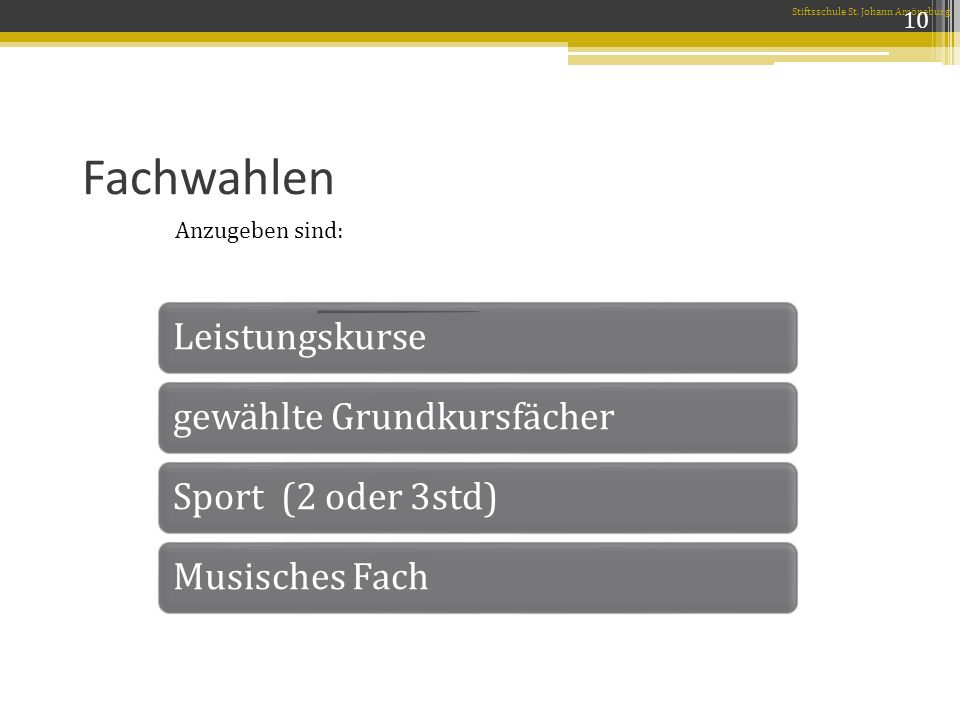 Fachwahlen Anzugeben sind: Stiftsschule St. Johann Amöneburg