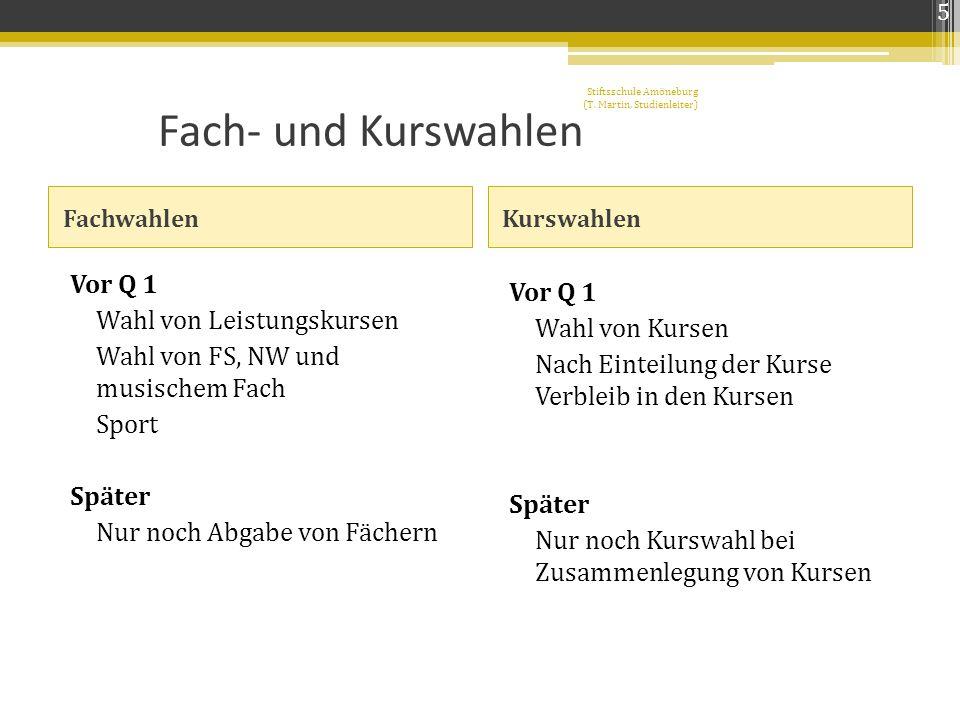 5 Stiftsschule Amöneburg (T. Martin, Studienleiter) Fach- und Kurswahlen. Fachwahlen. Kurswahlen.