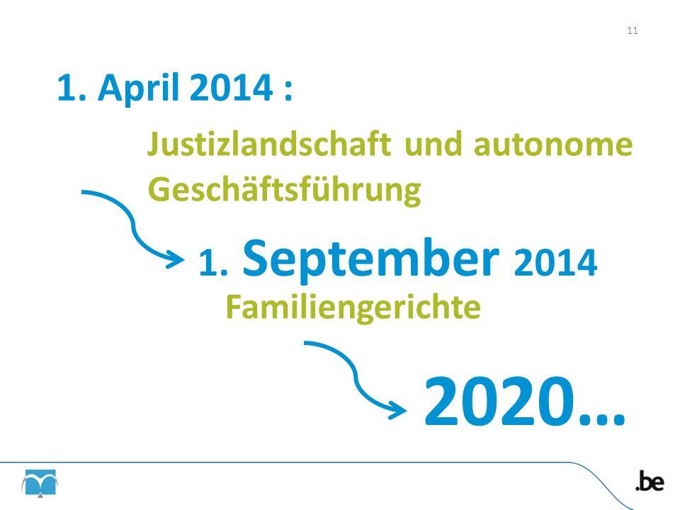 1. April 2014 : Justizlandschaft und autonome Geschäftsführung. 1. September 2014. Familiengerichte.
