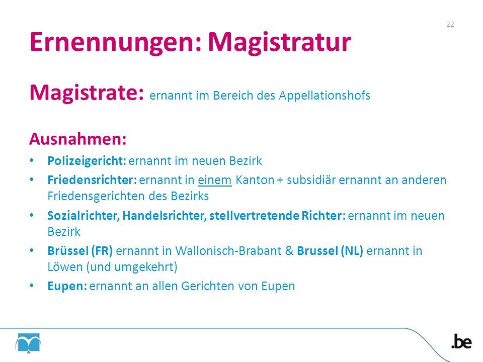 Ernennungen: Magistratur