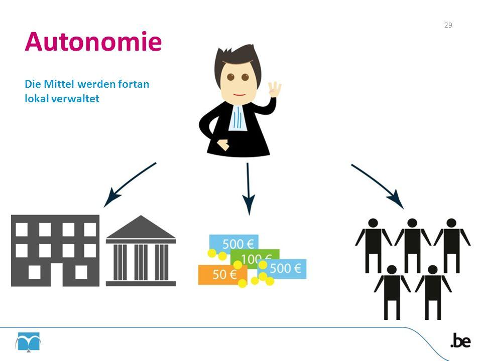 Autonomie 29 Die Mittel werden fortan lokal verwaltet