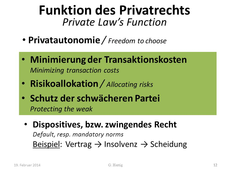 Funktion des Privatrechts Private Law's Function