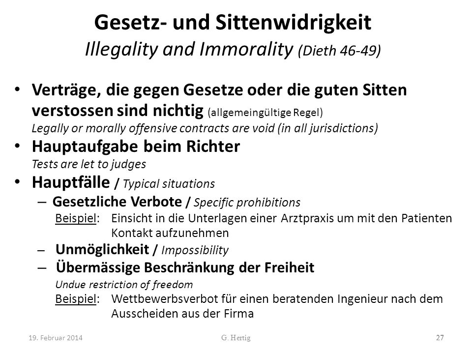 Gesetz- und Sittenwidrigkeit Illegality and Immorality (Dieth 46-49)