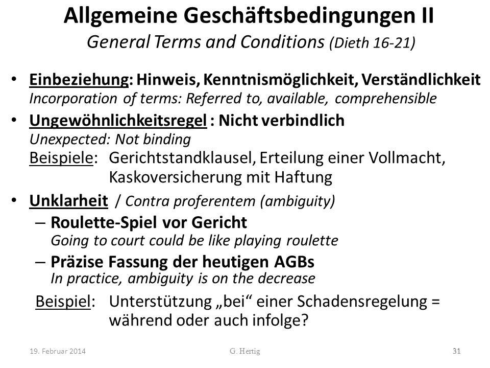 Allgemeine Geschäftsbedingungen II General Terms and Conditions (Dieth 16-21)