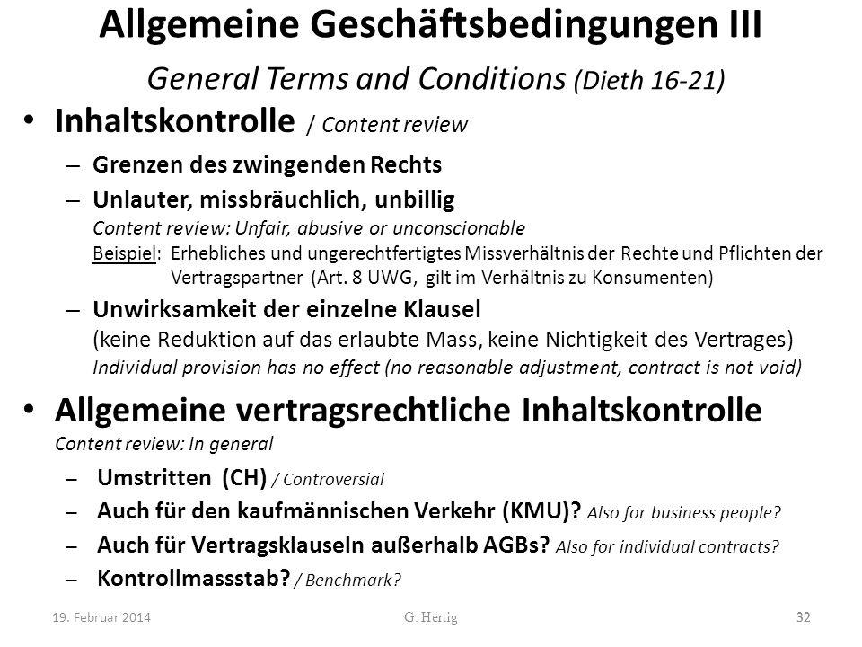 Allgemeine Geschäftsbedingungen III General Terms and Conditions (Dieth 16-21)