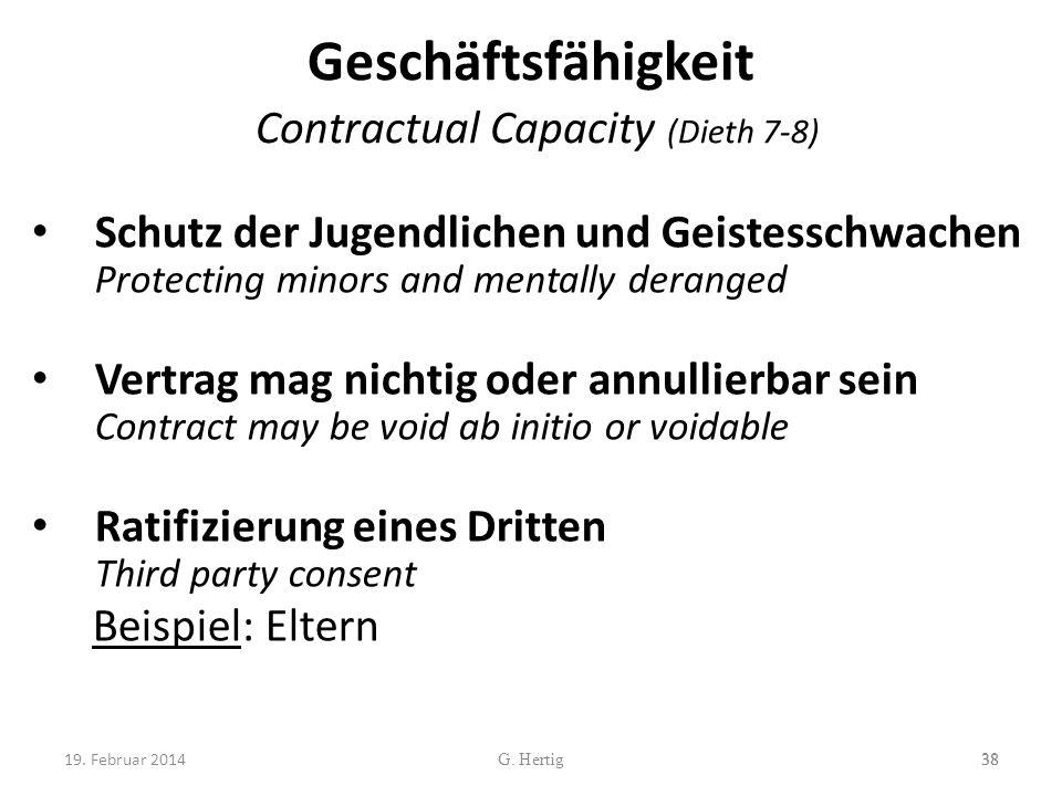 Geschäftsfähigkeit Contractual Capacity (Dieth 7-8)